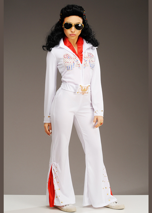Elvis Costume Adult Rhinestone Eagle White Jumpsuit Halloween Fancy Dress