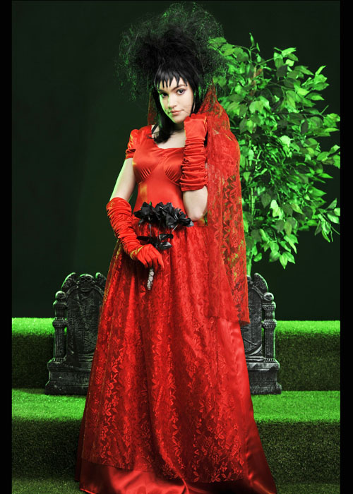 womens beetlejuice style dead red bride costume