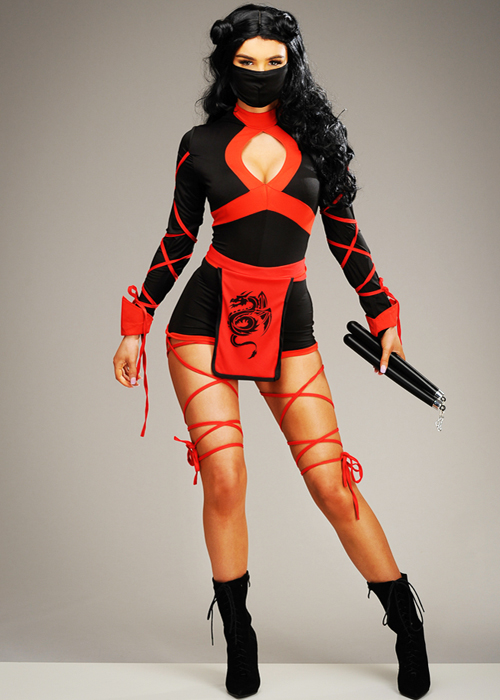 Womens Sexy Ninja Dragon Short Fancy Dress Halloween Costume Black & Red |  eBay