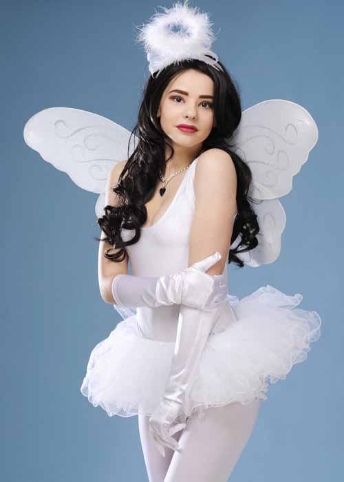Womens White Christmas Tutu Angel Costume