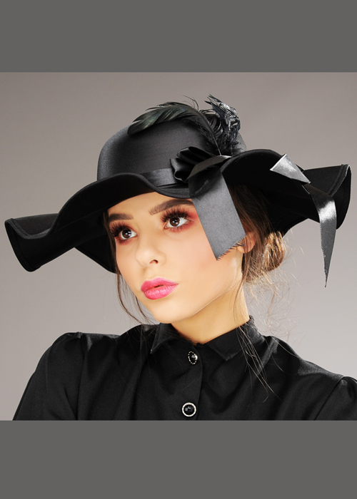 9002655ea Womens Black Victorian Lady Hat With Feather