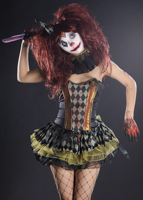 Womens Halloween Cute Zombie Clown Costume