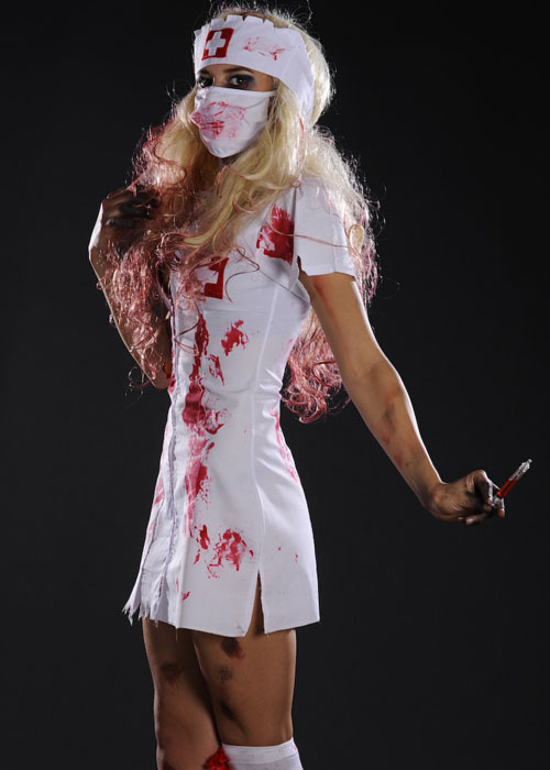 Womens Halloween Bloody Zombie Nurse Costume Ladies Halloween Zombie