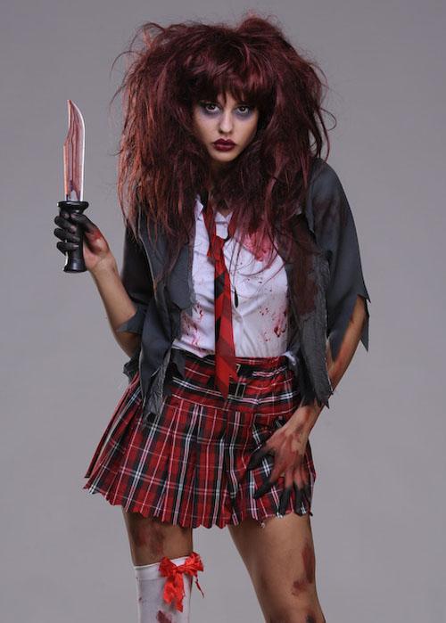 Womens Halloween Zombie Schoolgirl Costume Zombie ...